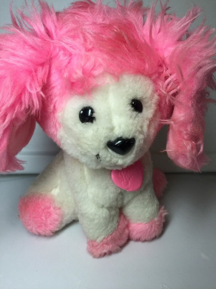 Vintage 1982 Mattel Plush Poochie Pup Dog Pink White Puppy Plush 8
