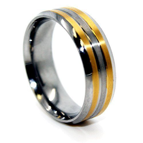 Blue Chip Unlimited 8mm Titanium with 2 18k Gold Plated Lines Ring