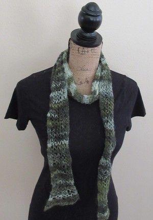 Garter trellis knit handspun scarf