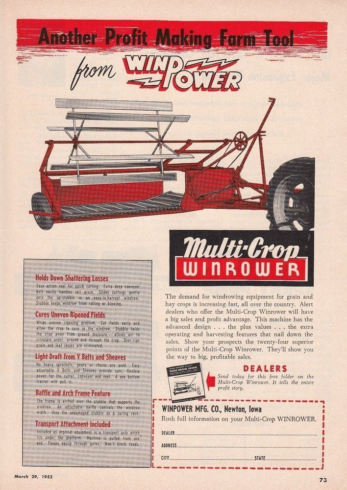 1952 Winpower Mfg Co Newton Ia Ad Multi Crop Winrower Profit