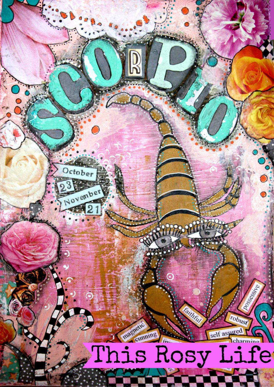Scorpio art, Scorpio art print, Scorpio gift, astrology art. by ThisRosyLife on Etsy