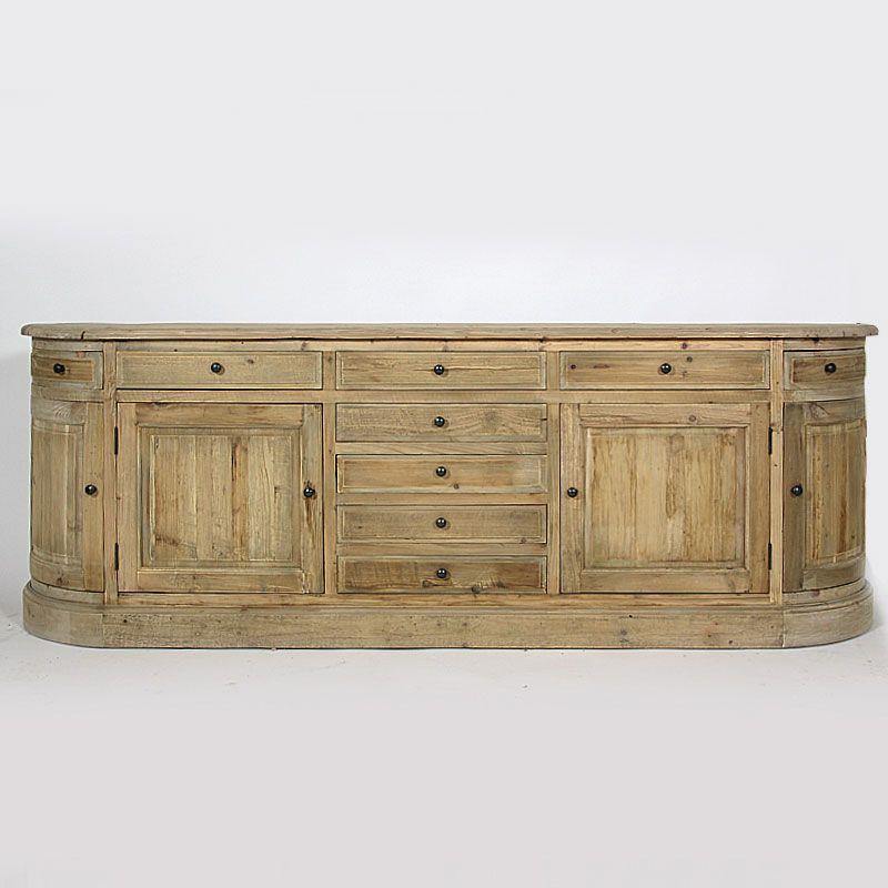 grand buffet 4 portes en bois recycl nombreux rangements avec portes et tiroirs meuble en. Black Bedroom Furniture Sets. Home Design Ideas