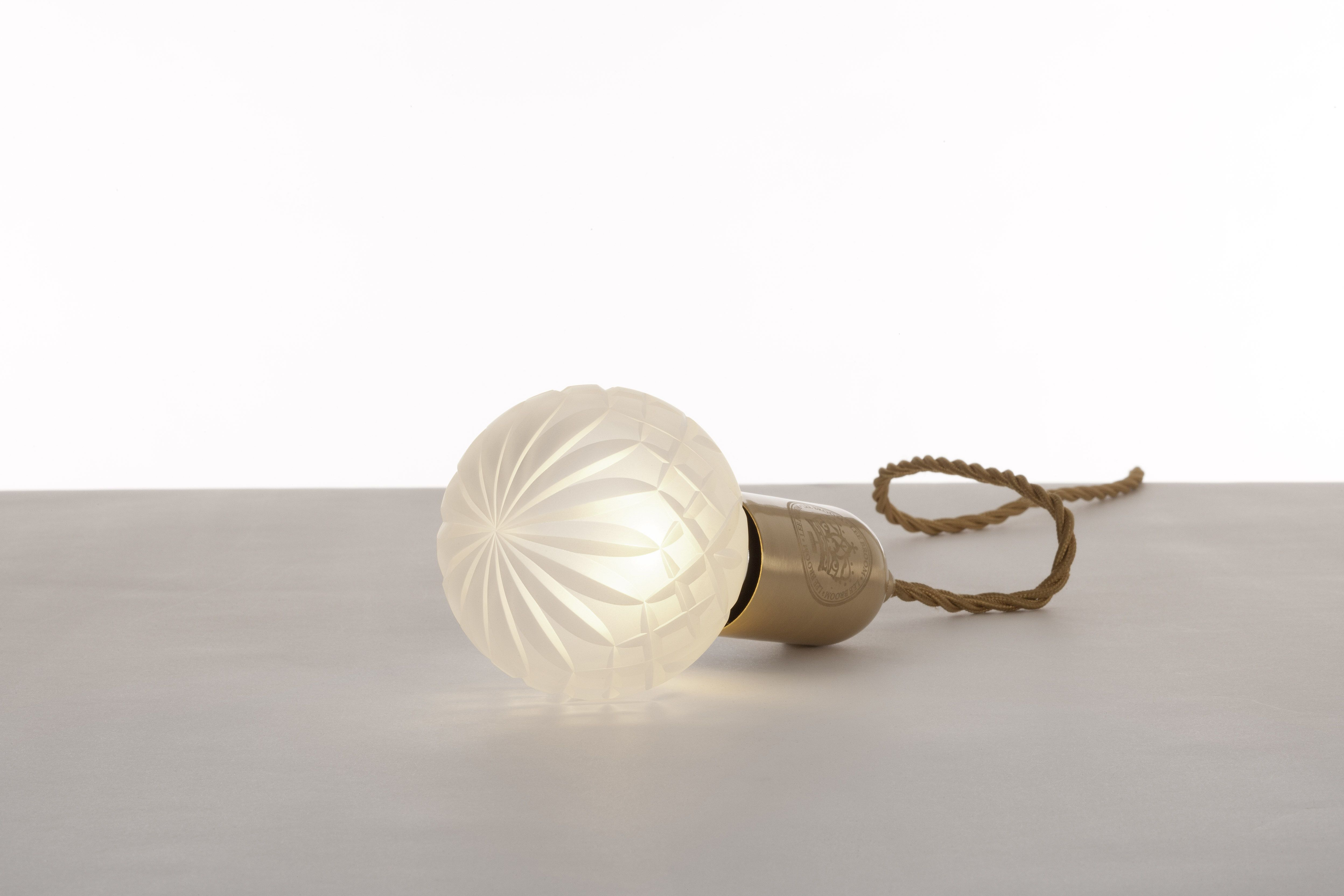 Crystal Bulb Frosted Crystal Bulb And Pendant The Brushed Brass Pendant Fitting Engraved With The Lee Broom Logo Mini Pendant Lights Mini Pendant Crystals
