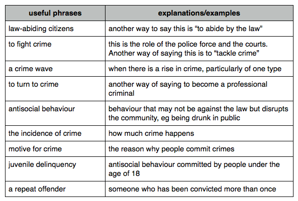 Crime Vocabulary And Exercise Essay Question Good Youth