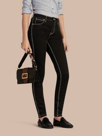 Skinny Fit Stretch Jeans with Contrast Topstitching