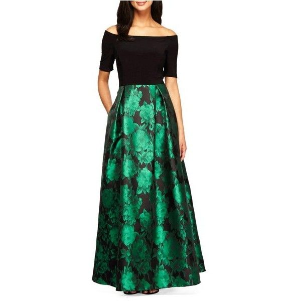 ALEX EVENINGS Rose Print Off the Shoulder Gown ($199) ❤ liked on ...