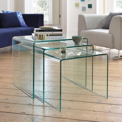 Three pieces of curved glass create a contemporary nest of tables three pieces of curved glass create a contemporary nest of tables that are substantial but will watchthetrailerfo