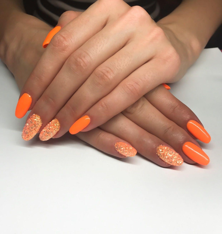 Letnie Paznokcie Hybrydy Kolor Pomaranczowy Indigo