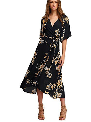 Milumia Women s Boho Deep V Neck Floral Chiffon Wrap Split Long Dress Black  M   Read more   718351048