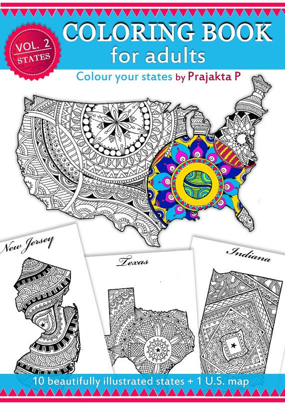 United States Maps Coloring Pages For Adults Mandala Doodle Maps