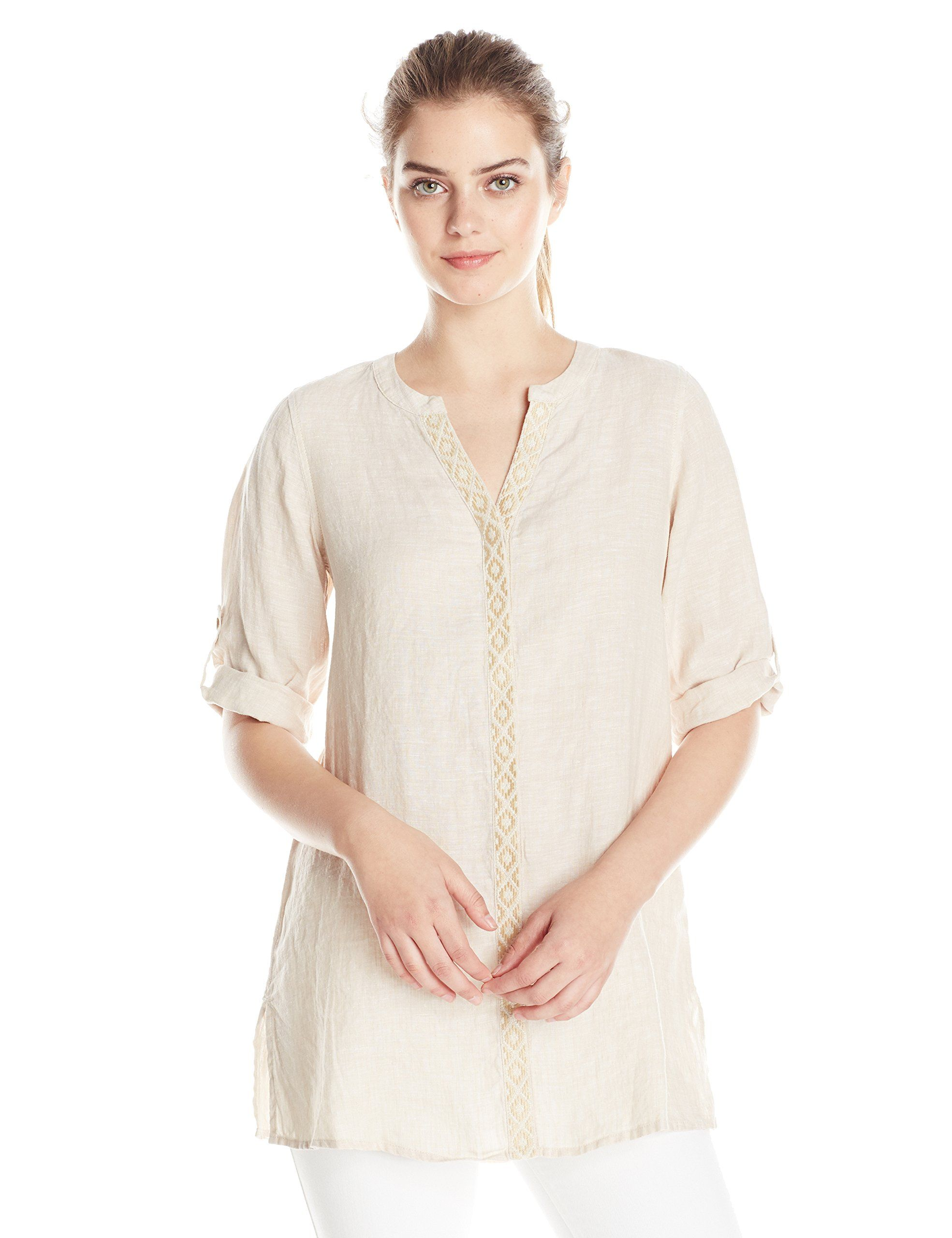 de42c194460e7 Foxcroft Women s Linen Tunic with Embroidery at Amazon Women s Clothing  store
