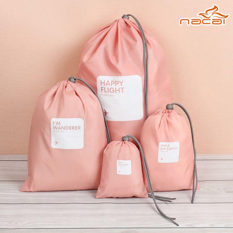Cute Drawstring Storage Bag 4pcs Set 4size Waterproof Lucky Travel
