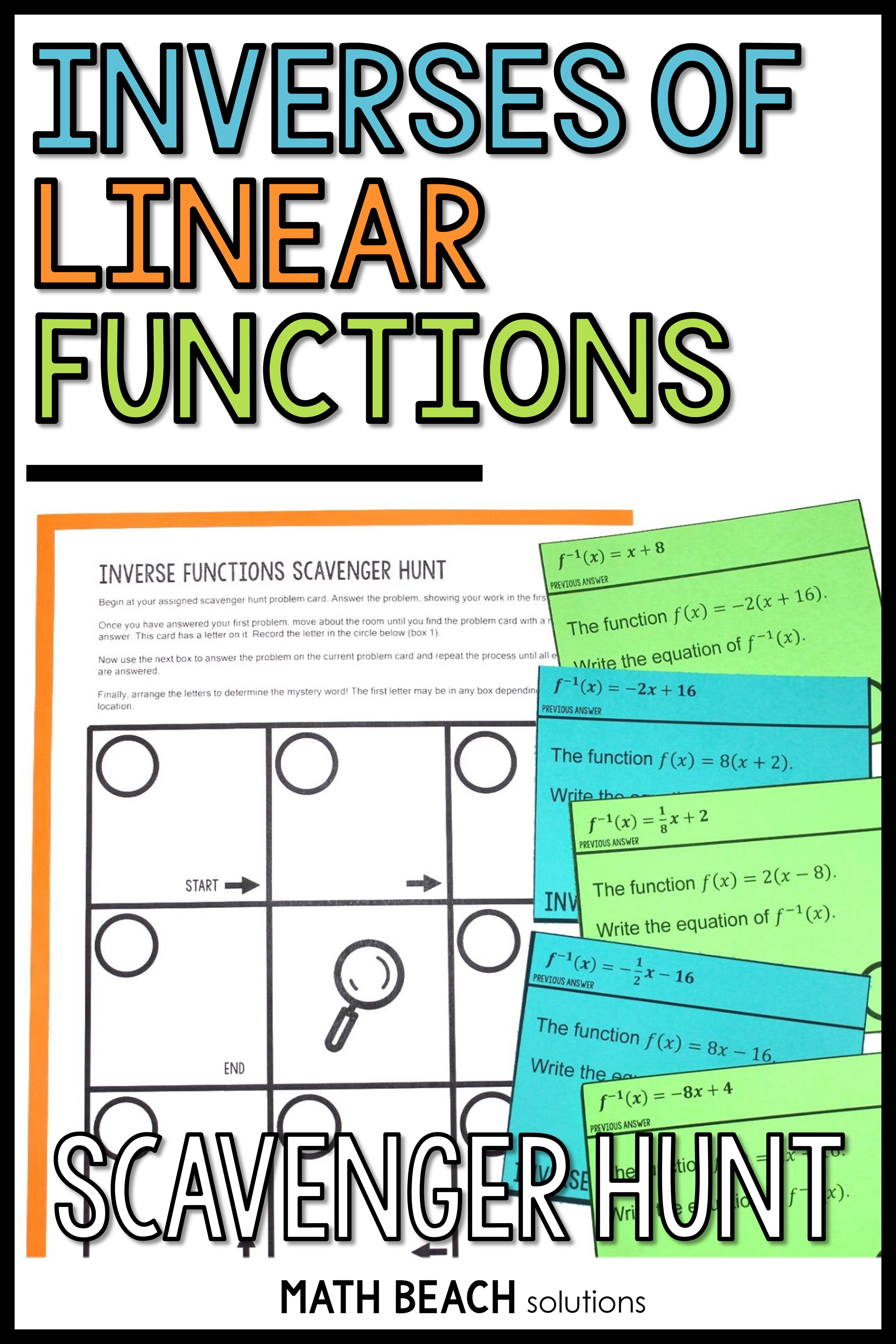 Inverses Of Linear Functions Scavenger Hunt Activity Linear Function Inverse Functions Graphing Functions