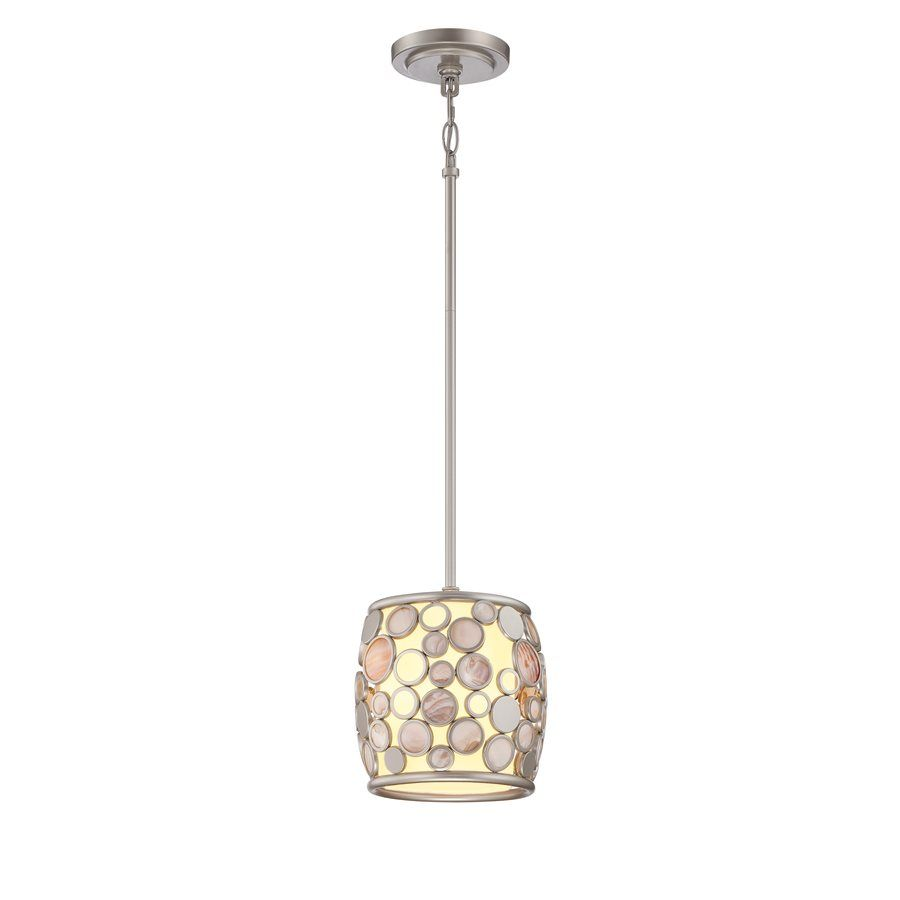 Kitchen Pendant Lights Canada: Style Selections Fairgate 1 Light Mini Pendant With Fabric Shade Silver Finish