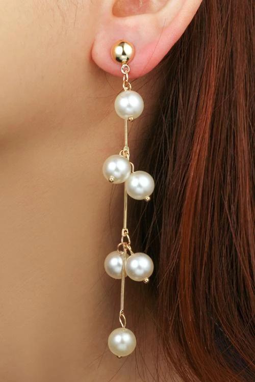 Pearl Tassels Earrings – Gold