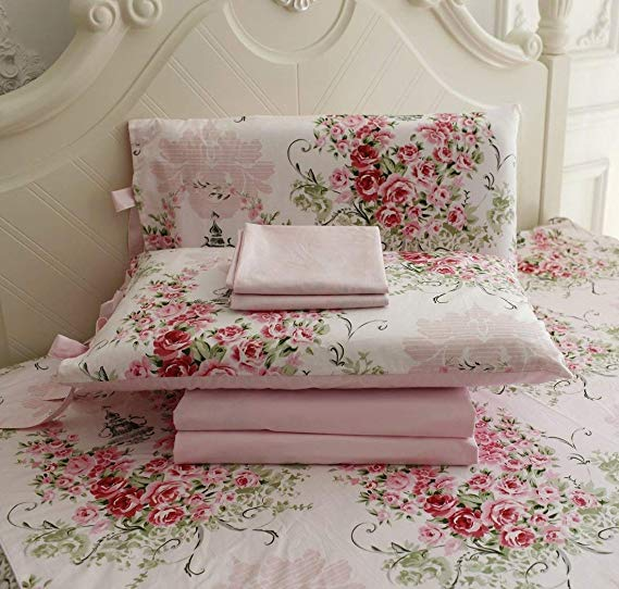 Amazon Com Fadfay Cotton Bed Sheet Set Shabby Pink Floral Bed Sheets 4 Piece Full Size Home Kitchen Bed Sheet Sets Queen Bedding Sets Bed Linen Design