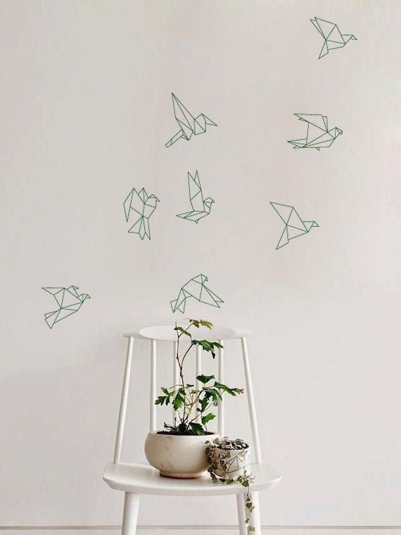 Stormo di volo Origami uccelli decalcomania per casa ...