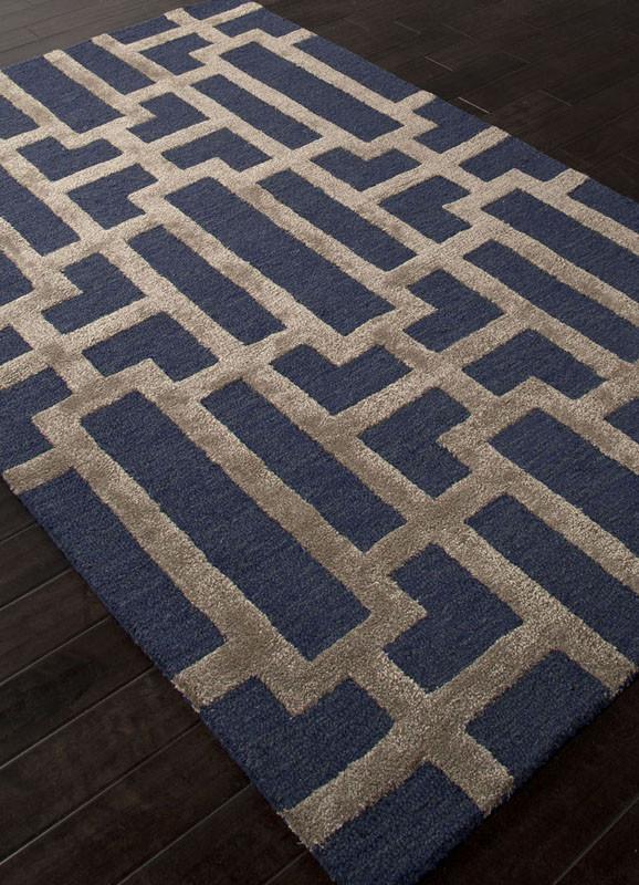 Jaipur Rugs Rug111861 Hand Tufted Geometric Pattern Wool Art Silk Blue Tan Area