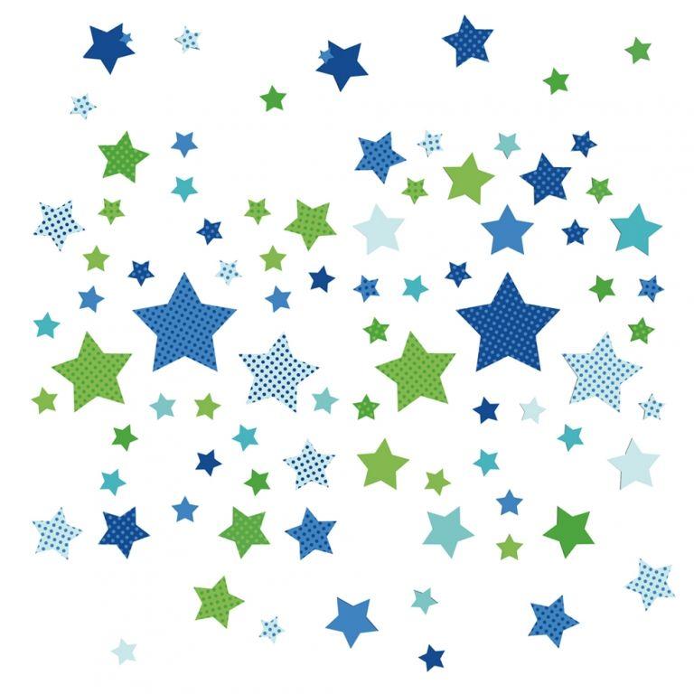 Popular Kinderzimmer Wandsticker Sterne blau gr n teilig