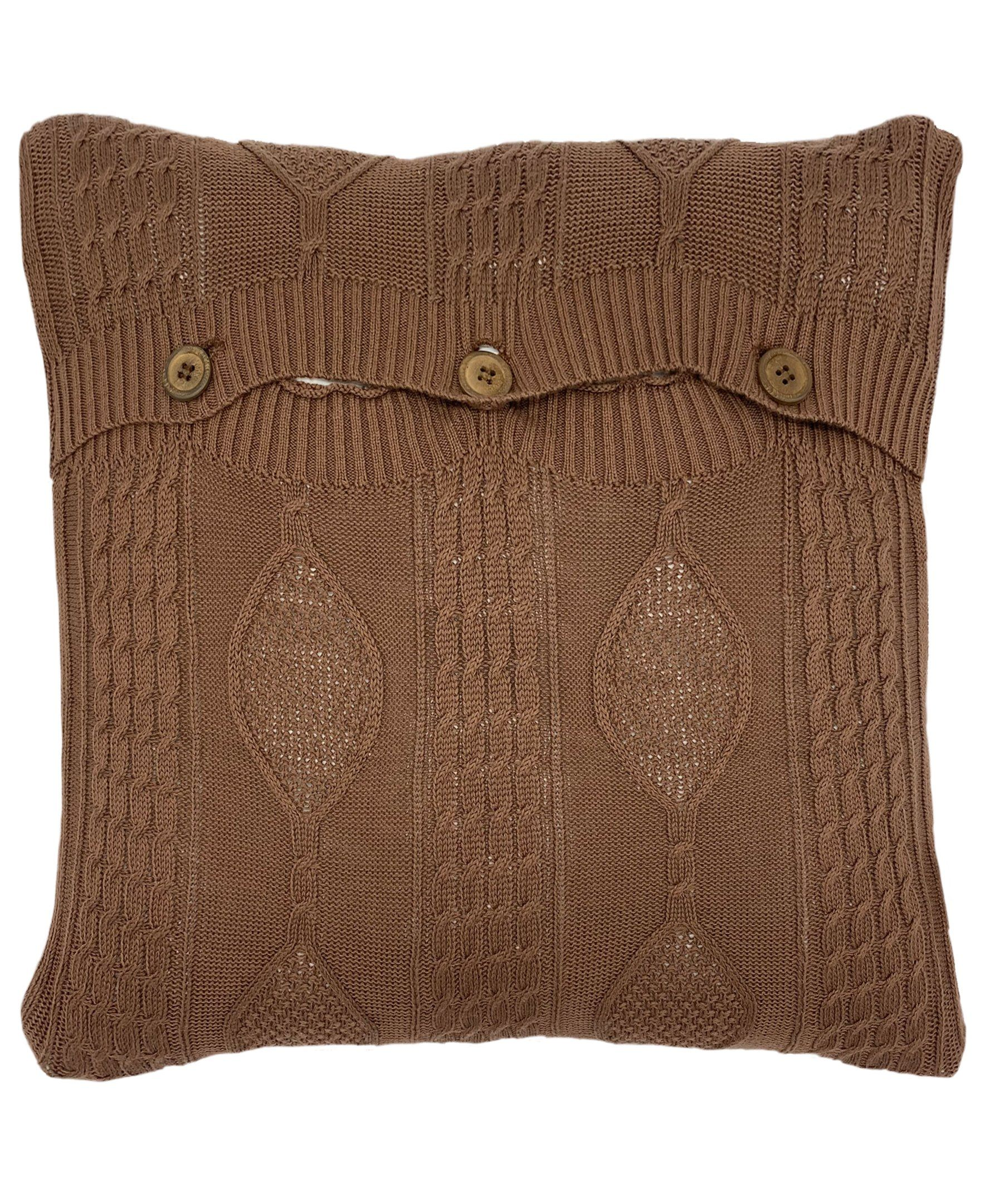 Photo of Cotton Diamond Cable Knit Pillow with 3 Button Closure, 18 X 18 – Brownie / 18X18 / PI-1098