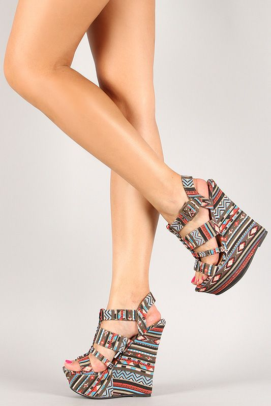 4e8170afee1f Dollhouse African Print Strappy Open Toe Platform Wedge