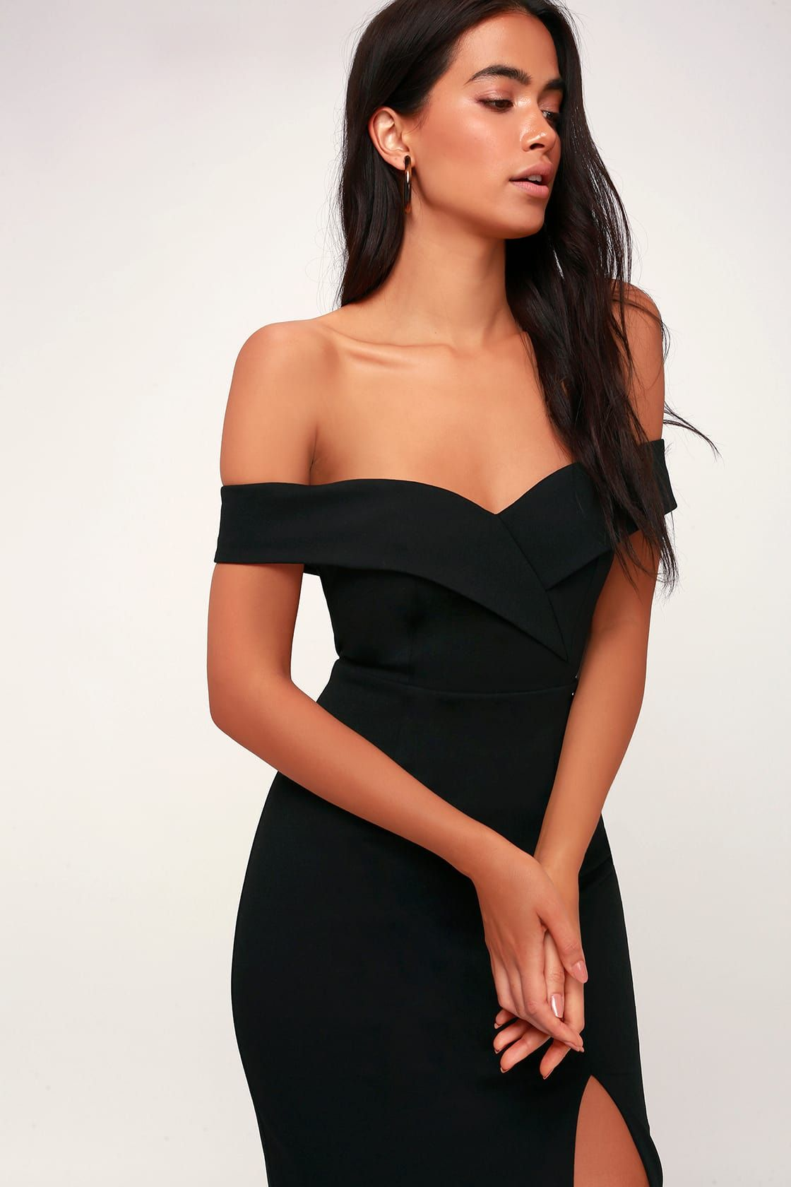 Classic Glam Black Off The Shoulder Bodycon Dress Chic Black Dress Midi Dress Bodycon Bodycon Dress [ 1680 x 1120 Pixel ]