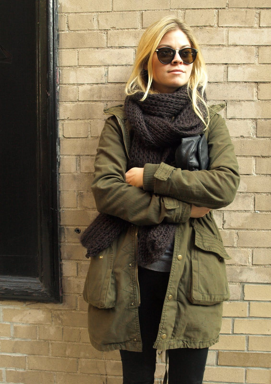 army green coat + chunky knit scarf