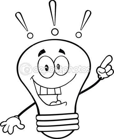Personaje de dibujos animados. Bombilla para colorear. | Broken bulb ...