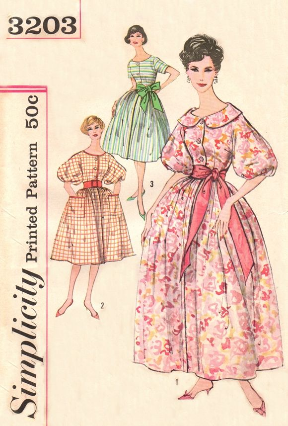 Simplicity 3203 Happy Housewife\'s Housecoat, Housedress & Sash / ca ...