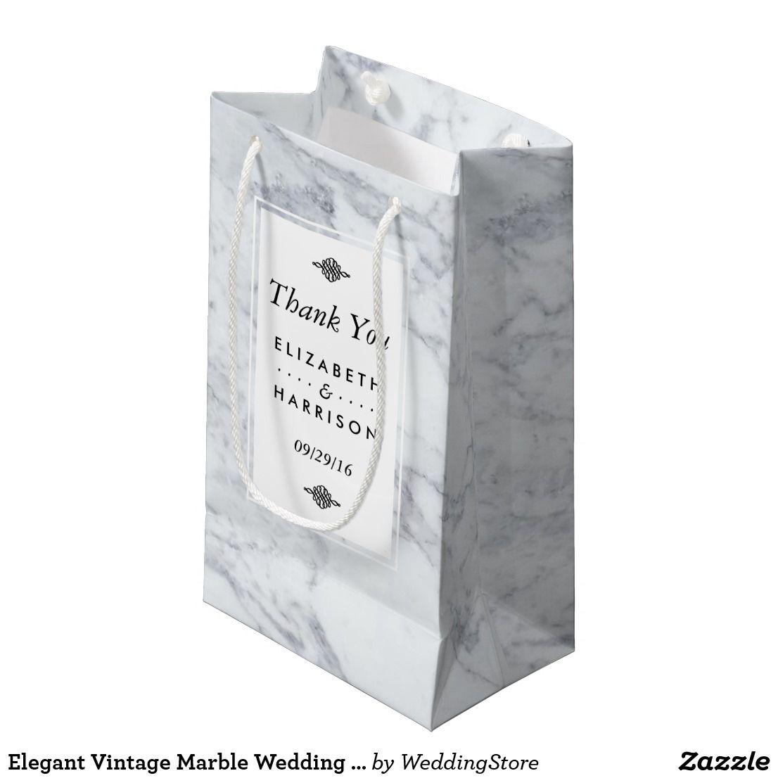 Elegant Vintage Marble Wedding Favor Small Gift Bag | Small gift ...