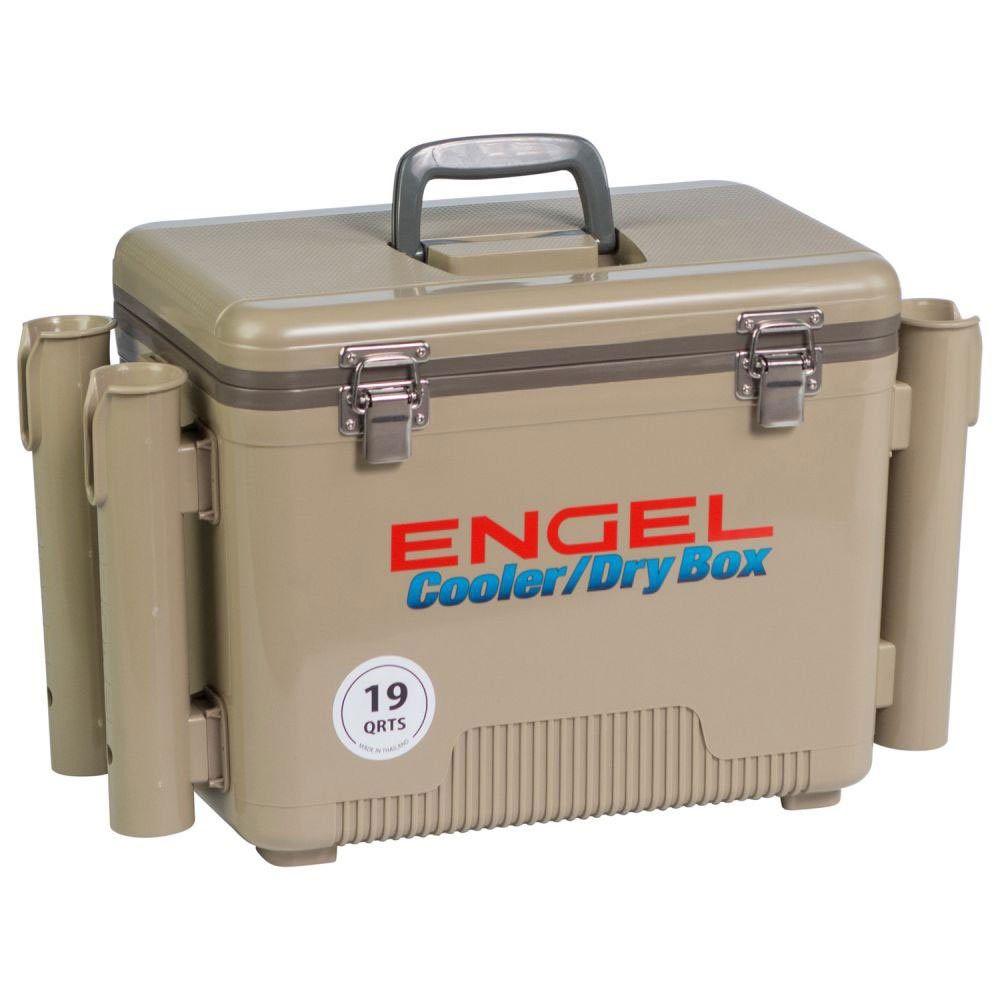 Engel 19 Quart Fishing Rod Holder Attachment Insulated Dry Box Cooler Tan In 2020 Fishing Rod Holder Kayak Cooler Rod Holder