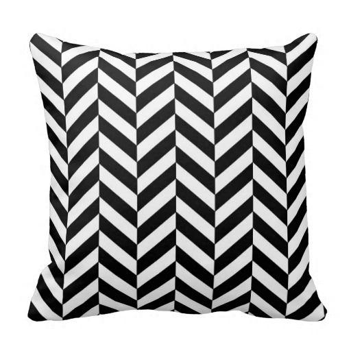 Herringbone Pattern Black And White Throw Pillow Zazzle Com