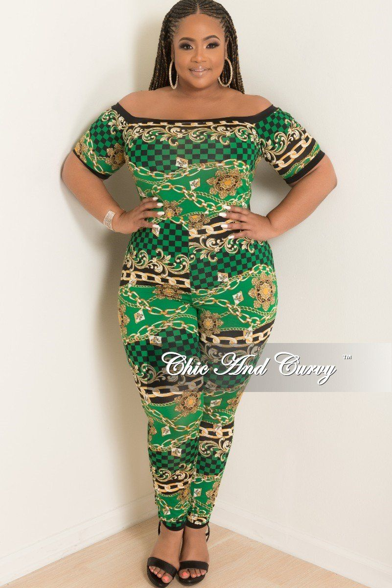 a455262caa1 Plus Size Checker Printed Jumpsuit in Green Black and Gold – Chic And Curvy