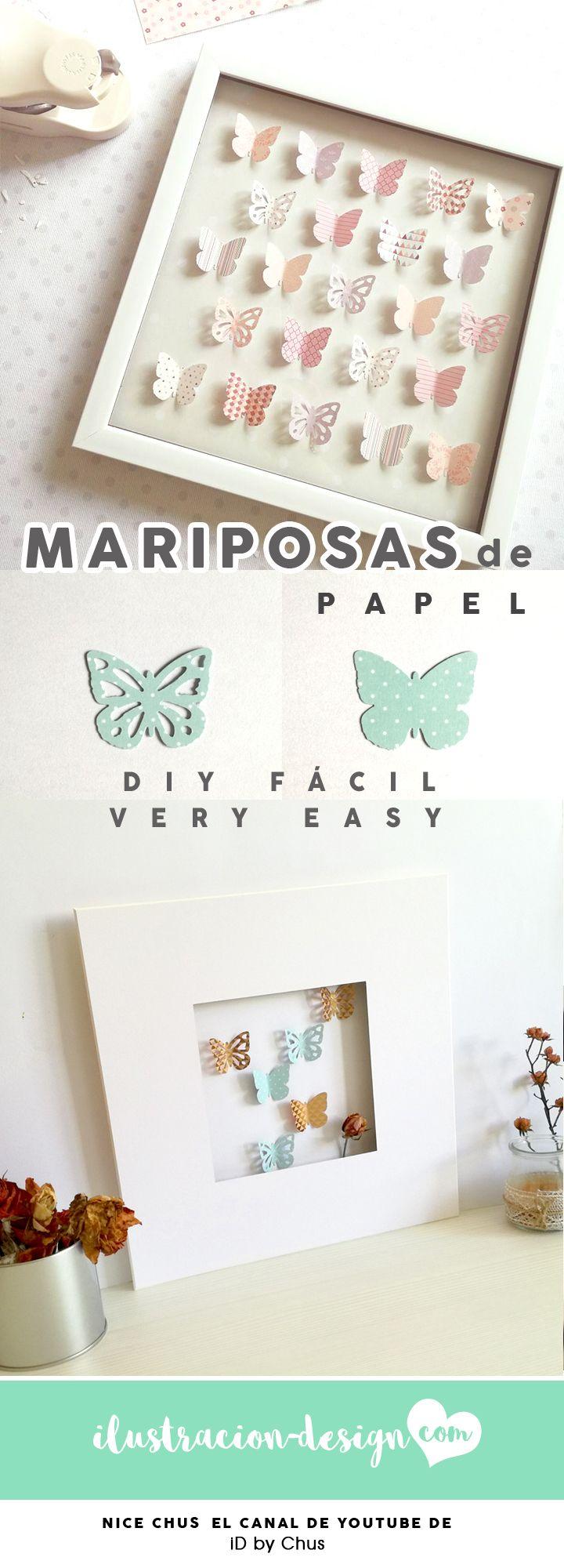 CUADRITOS DE MARIPOSAS DE PAPEL. Un DIY fácil de iD by Chus