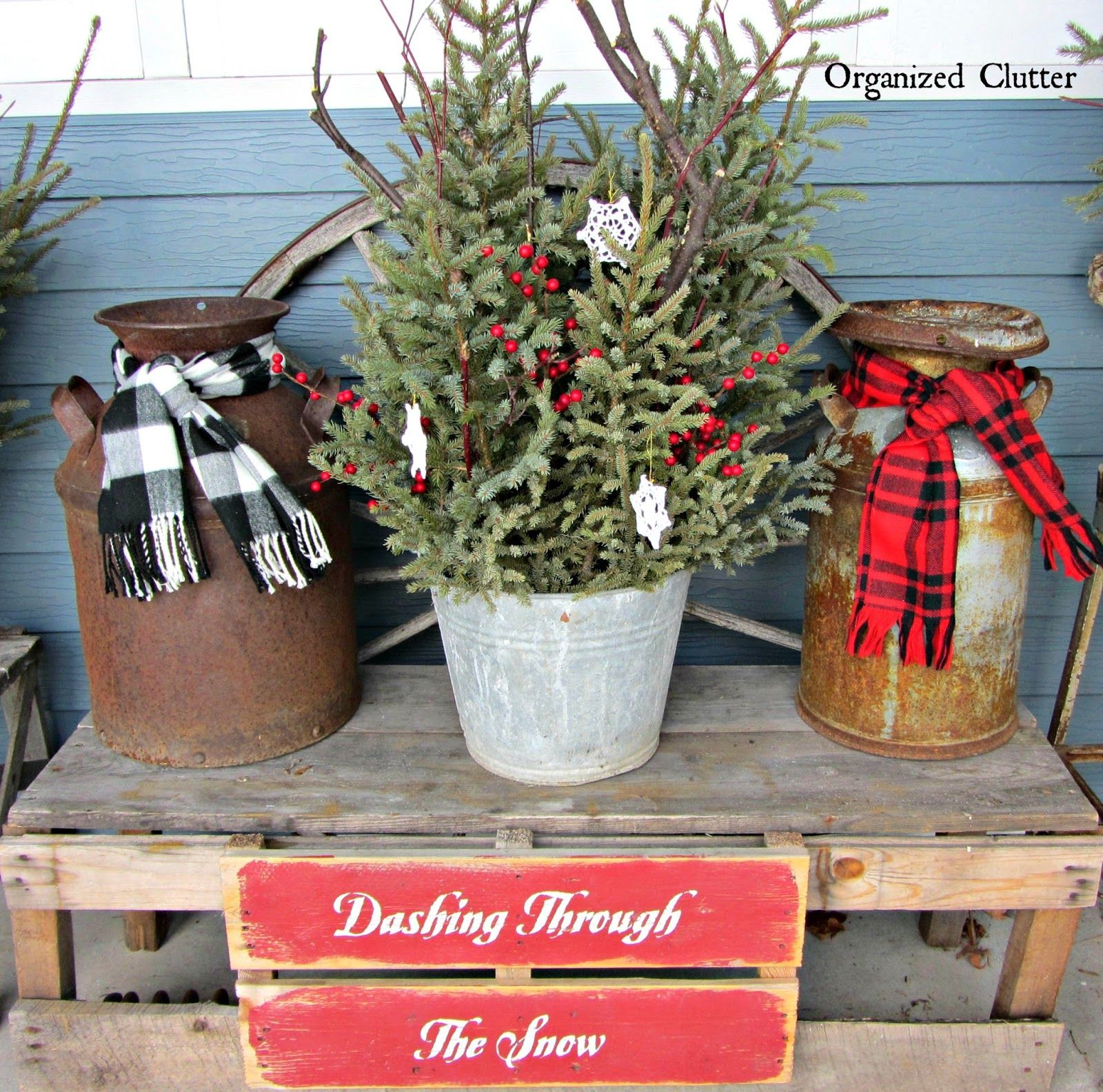 Junkers unite with an outdoor rustic christmas vignette