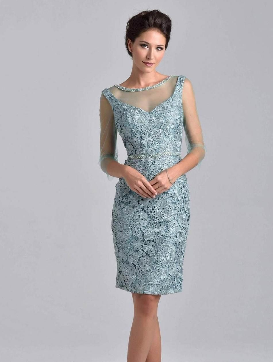 2015 Short Lace Mother Of The Groom Dresses With Sleeves Sheath ...
