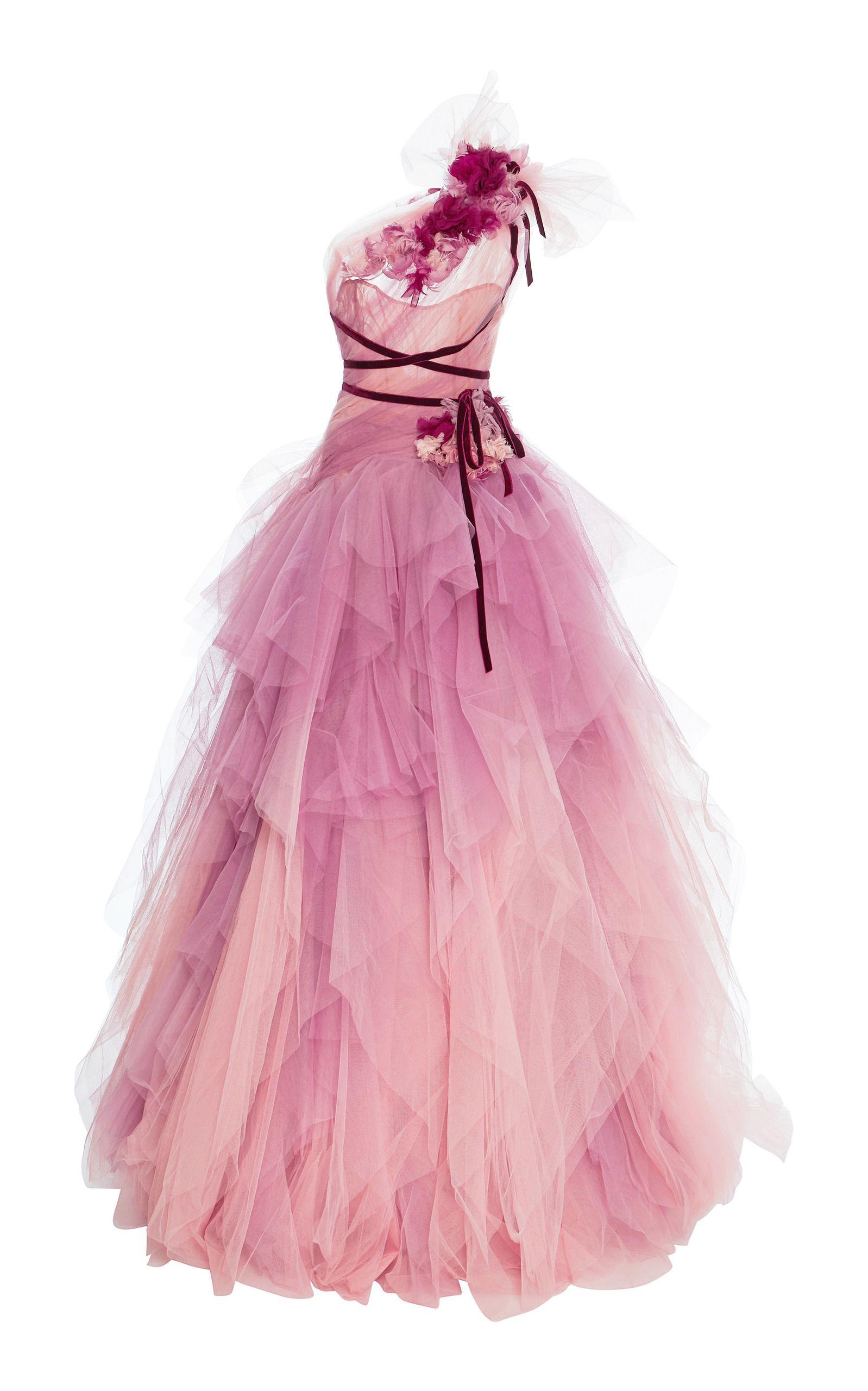 Marchesa Ombre Tulle Gown  Rosa kleid lang, Abendkleid rosa und