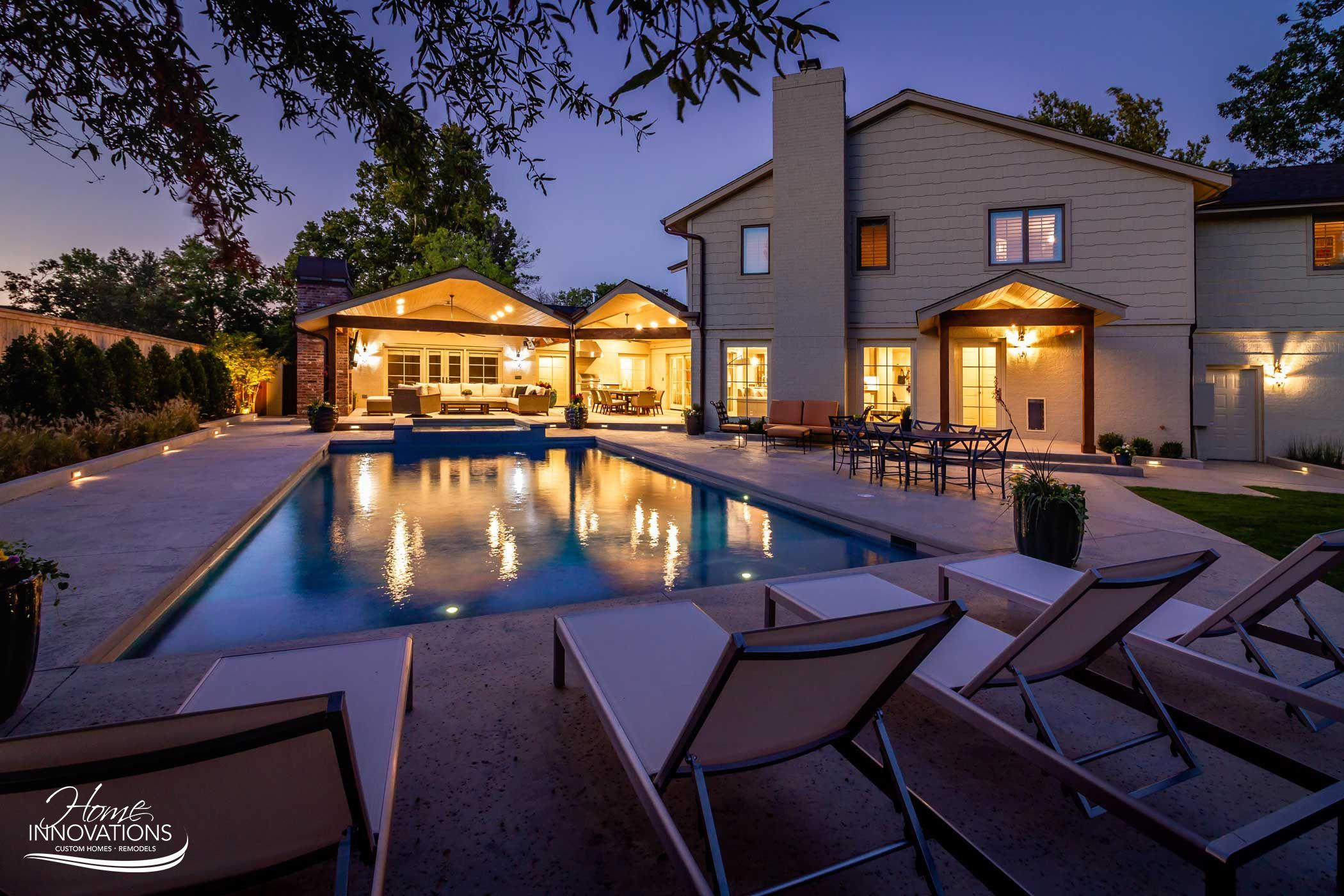 Swimming Pool Hot Tub Outdoor Kitchen Living Area With Fireplace Outdoor Remodel Hot Tub Outdoor Waterfront Property