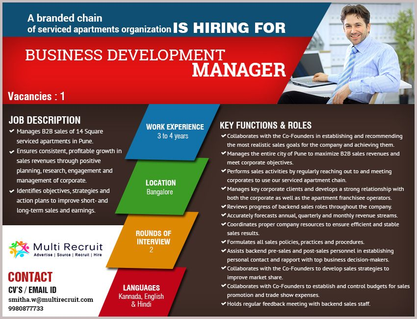 A branded chain of Serviced Apartments Organization is hiring for - business development manager job description