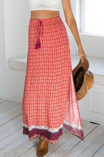 Dazzling Printed Drawstring Slit Skirt