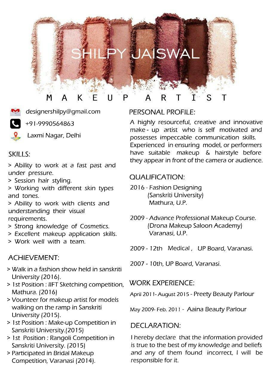 make up artist resume cv ideas
