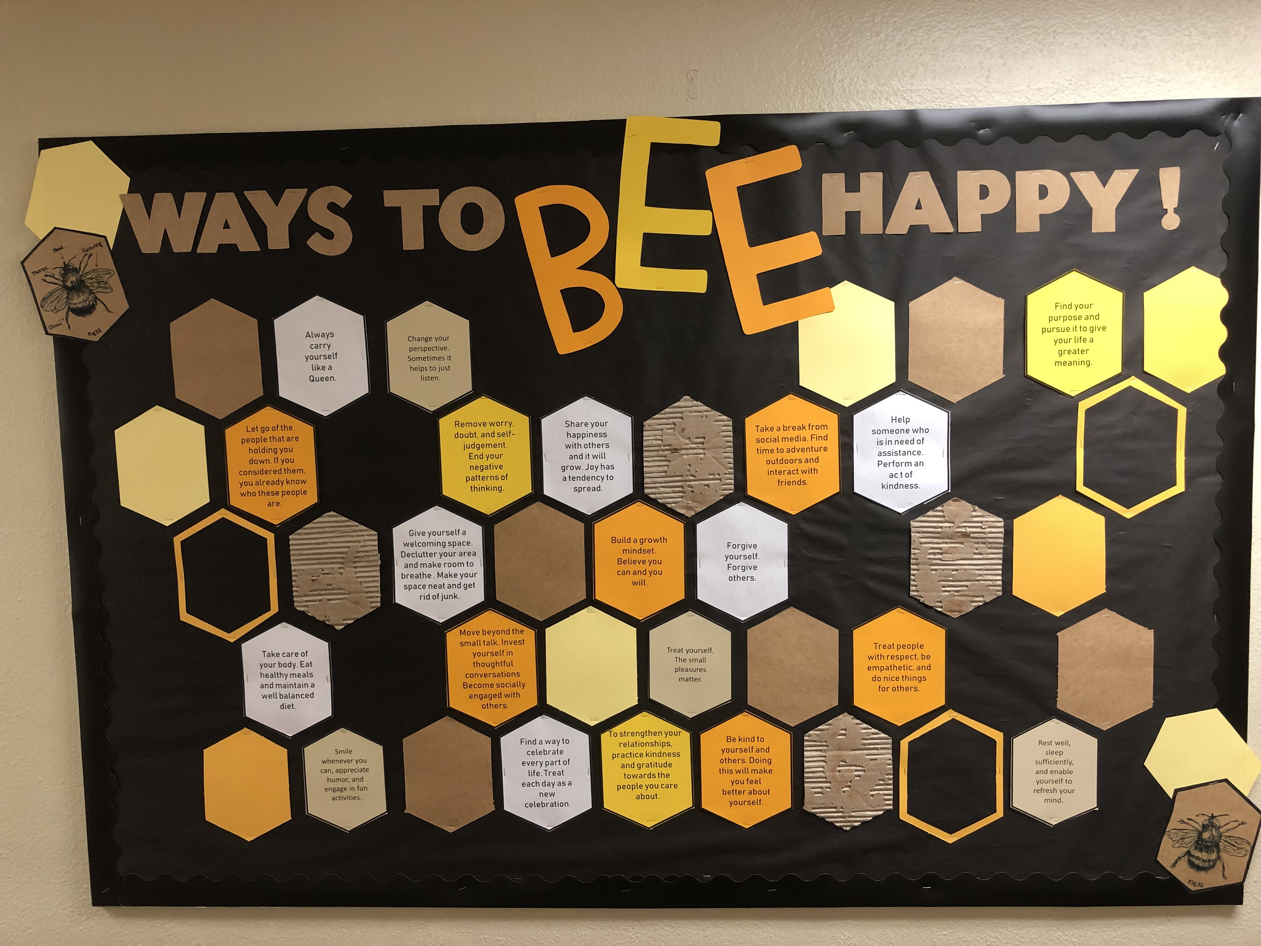 Ways To Bee Happy Bulletin Board #rabulletinboards