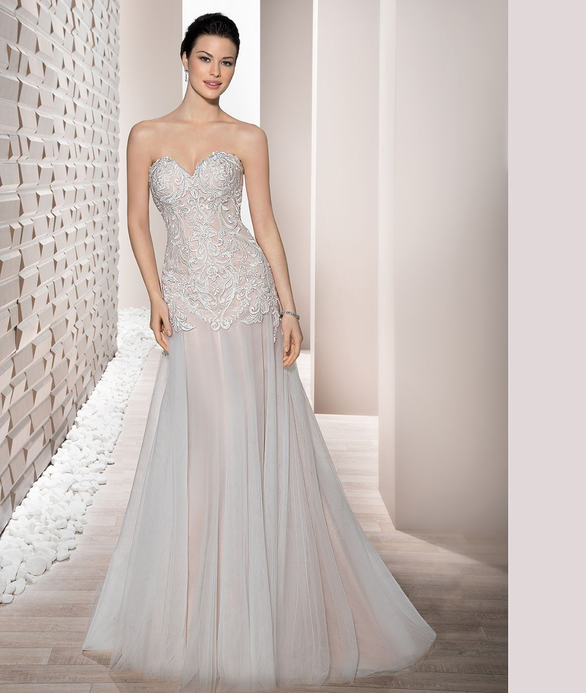 This Flowing, Strapless, A-line Gown With Sweetheart