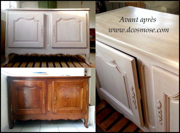 buffet en chêne patiné Relooking meubles Avant / Après Pinterest - Repeindre Un Meuble En Chene