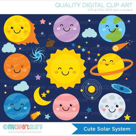 Clipart - Solar System / Galaxy / Outer Space / Kawaii - Digital ...