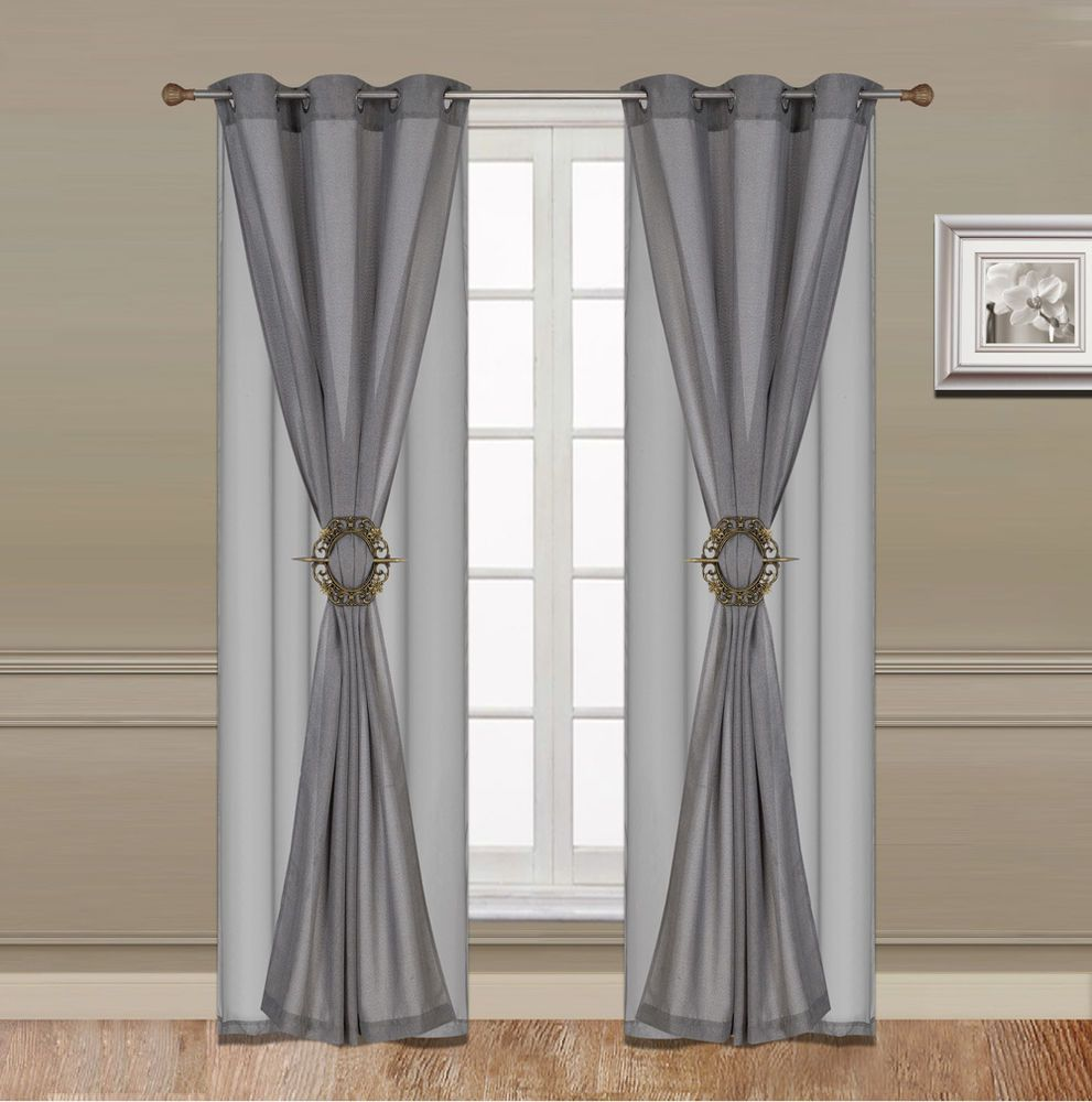 Details about Curtain Set 6 Piece Grey Grommet Faux Silk With Grommet Sheer And Hold Back clip