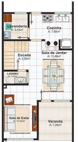 Planos de casas angostas y alargadas planos departamento for Casas alargadas