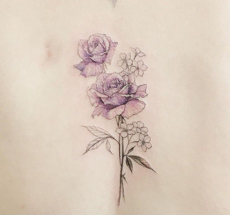 Colour Delicate Flower Tattoo …