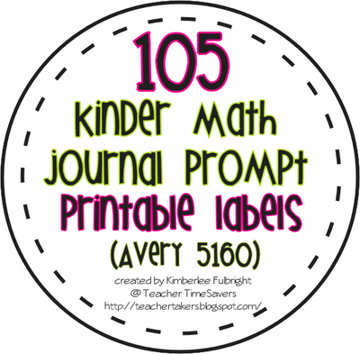 Kindergarten Math Journal Prompts