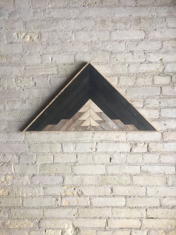 Reclaimed Wood Wall Art Decor Lath Pattern Triangle Mountain Black Landscape 33 X 17 Black Friday Wood Wall Art Decor Reclaimed Wood Wall Art Reclaimed Wood Wall